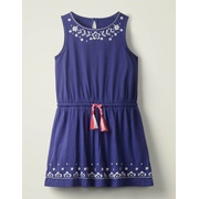 Boden Embroidered Tie-waist Dress - Indigo Blue