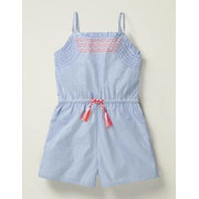 Boden Easy Woven Romper - Chambray Blue
