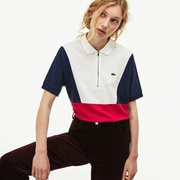Lacoste Womens Zip Neck Colorblock Terrycloth Pique Polo