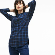 Lacoste Womens Slim Fit Stretch Check Cotton Canvas Shirt