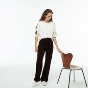 Lacoste Womens Boxy Fit Striped Cotton Velour Pants