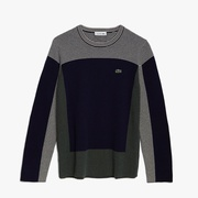 Lacoste Womens Colorblock Knit Crew Neck Sweater