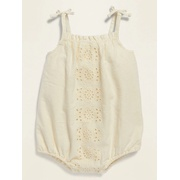 OLD NAVY Linen-Blend Eyelet Bubble One-Piece for Baby
